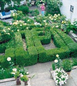 Buksbomhekken dominerer den 250 kvm store skånske hagen.