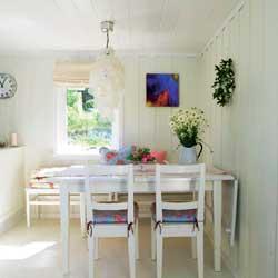 """Alle flatene er malt hvite og """"nesten-hvite"""" i glansgrad 15. Trehvite møbler er malt hvite i glansgrad 40. Variasjonene mellom de hvite nyansene og bruk av ulik glansgrad gir et fint spill som skaper dynamikk. Du kan med fordel velge lyse gardiner i samme fargenyanse som veggene."""