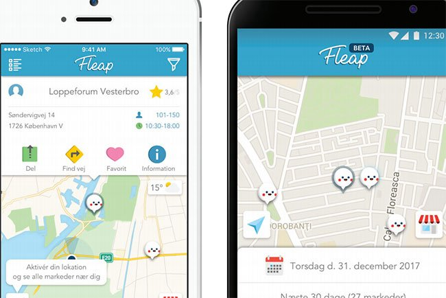Lppemarkeds-app'en Fleap med sin interface.