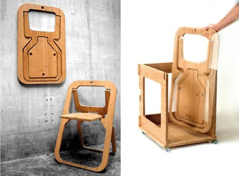 Sammenleggbare bambusstol designet av Christian Desile.
