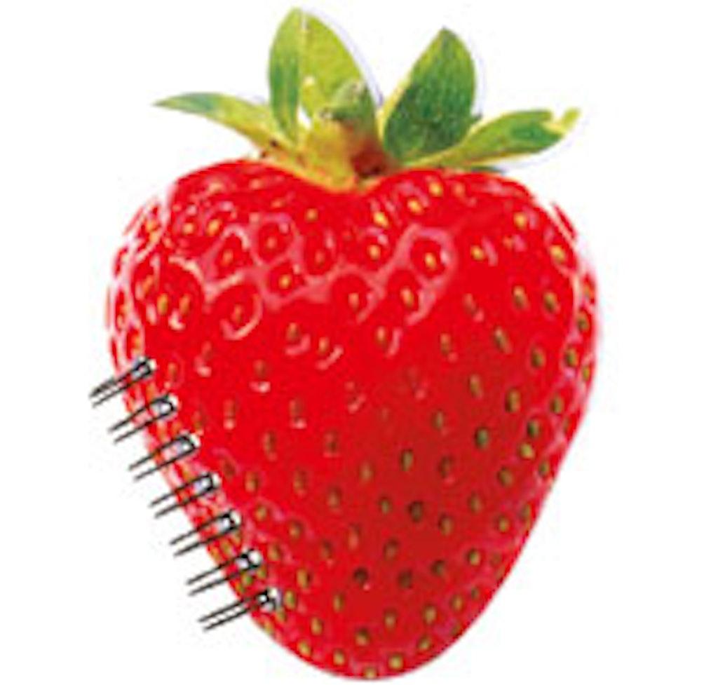 notesbog med spiralryg har facon som et jordbær